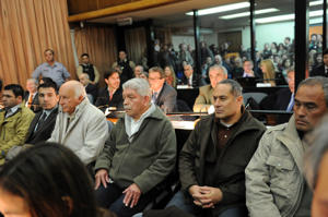 El secretario general del sindicato Unión Ferroviaria (UF), José Pedraza y los otros acusados (Télam)