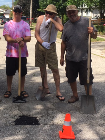 Road workers at home