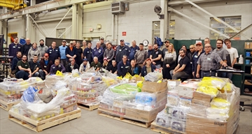 Weber Manufacturing employees donated 5,250 pounds of food to the Midland Salvation Army.