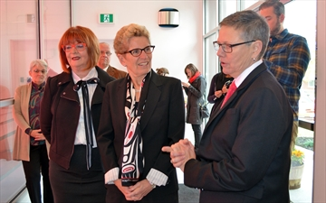 Barrie MPP Anne Hoggarth (left) and Premier Kathleen Wynne were given a tour of the new Operation Grow facility by executive director Kathy Willis on Oct. 16.
