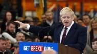 Zuversichtlich: Britischer Premierminister Boris Johnson beim Fabrikbesuch am Dienstag