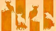 Illustration Bulle und Bär (Sonntagszeitung)