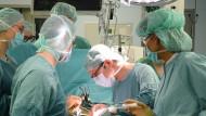 Leipzig: Im Transplantationszentrum am Universitätsklinikum wird eine von einem gesunden Spender vor wenigen Minuten entnommene Niere beim Empfänger transplantiert.