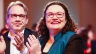 Andrea Nahles, ehemalige Vorsitzende der SPD-Bundestagsfraktion, beim politischen Aschermittwoch in Thüringen
