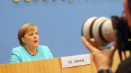 Bundeskanzlerin Angela Merkel in der Bundespressekonferenz am 22. Juli in Berlin