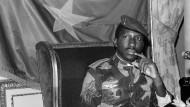 Der frühere Präsident von Burkina Faso, Thomas Sankara, im Februar 1986 in Paris