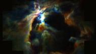 Sofia-Abbildung der Orionwolke: Der Stern Theta Orionis C (nicht sichtbar im hellen Zentrum des Bildes) verhindert weitere Sternentstehung innerhalb einer 13 LIchtjahre großen Blase.