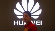 Das Logo des chinesischen Telekommunikationsunternehmens Huawei