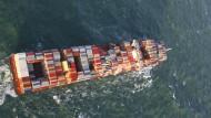 Ein Frachterschiff auf See (Symboldbild)