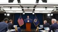 Im Rampenlicht: Fed-Präsident Jerome Powell bei einer Pressekonferenz in Washington D.C.