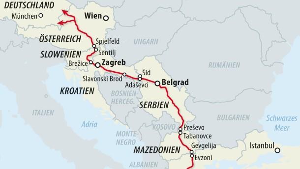 Karte / Flüchtlinge Balkan