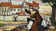 Auch Mönche haben Laster: digitale Reproduktion eines satirischen Kupferstichs aus dem siebzehnten Jahrhundert