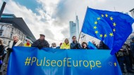 """Die Teilnehmerzahl an den Kundgebungen von """"Pulse of Europe"""" nimmt ab."""