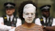 Unterstützung für einen Mann, den die Vereinigten Staaten als Spion ansehen: Auf einer der Londoner Demonstrationen gegen die Auslieferung Julian Assanges