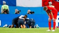 Jubel bei den Franzosen, Enttäuschung bei den Belgiern: Die Niederlage im WM-Halbfinale in Russland 2018 lässt die Nation nicht los.