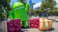 Der Roboter, das Maskottchen von Android, auf dem Google-Firmengelände in dem Ort Mountain View.