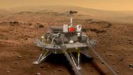 Der chinesische Marsrover soll mindestens 90 Marstage lang mit sechs wissenschaftlichen Instrumenten den roten Planeten erkunden.