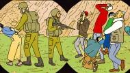 Im Fokus des Comics: Orthodoxe werden von israelischen Soldaten als Unruhestifter verhaftet.