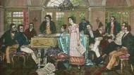 Auf diesem Gemälde von Hans Temple sind sie alle beisammen: Von Ludwig van Beethoven (4. von links) über Franz Schubert (2. von links) bis hin zu  Grillparzer (1. von rechts) bei einem Schubert-Abend im Hause Joseph von Spauns.