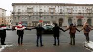 Menschenkette am 29. Dezember 2019 gegen die Vertiefung der belorussischen-russischen Beziehungen