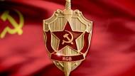 Das offizielle Emblem des Geheimdienstes KGB: Schild und Schwert