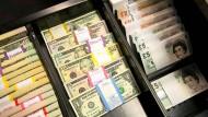 Devisen in einem Tresorraum