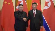 Nordkoreas Machthaber Kim Jong-un (links) am 8. Januar neben Chinas Staatspräsident in der Großen Halle des Volkes in Peking