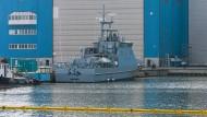 Deutscher Rüstungsexport an Saudi-Arabien: Ein Küstenschutzboot auf der Peene-Werft in Wolgast