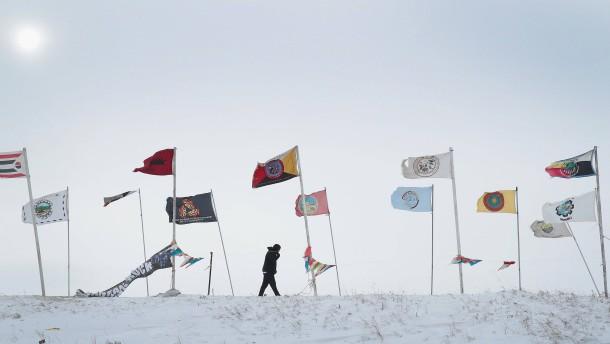 """© AFP Ein Blizzard erreichte vor wenigen Tagen das Sioux-Reservat """"Oceti Sakowin Camp"""" in North Dakota."""