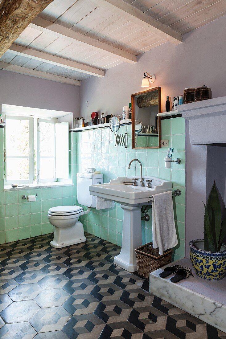 https www living4media com images 11429554 pastel green wall tiles pedestal sink and 3d patterned floor tiles in vintage bathroom