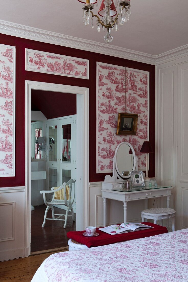 Dressing Table Against Red And White Buy Image 11350836 Living4media