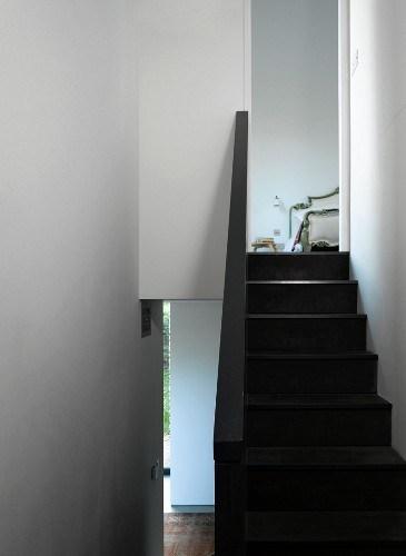Dark Wood Stairs And Balustrade In White … – Buy Image – 11004982   Dark Wood And White Stairs   Light   Contrast   Brick Wall Dark Stain   Flooring   Carpet