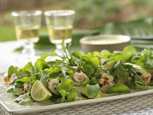 Salad leaves with grilled squid on a table out of doors