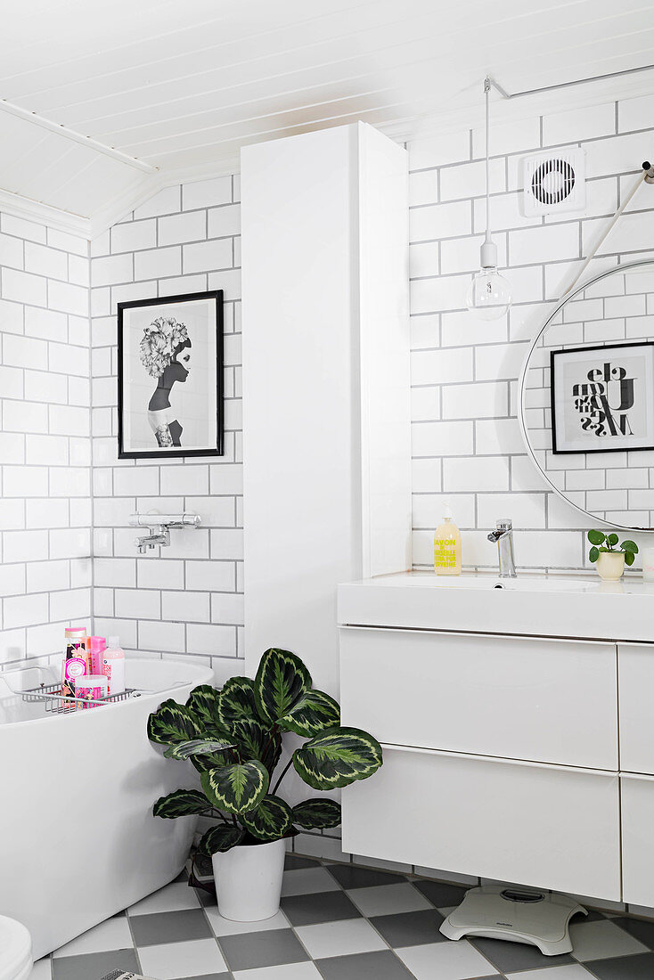 https www living4media com images 12668371 white bathroom with subway wall tiles and simple modern furnishings