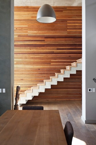 Dining Area In Front Of Floor To Ceiling … – Buy Image – 11304013   Wood And Concrete Stairs   House   Internal   Glass   Small Space   Pinterest