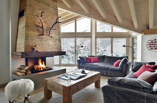 Rustic Living Room With Open Fireplace Buy Image 12506301 Living4media