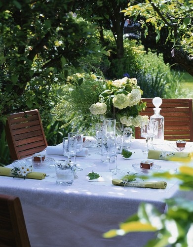 Laid table in summery garden