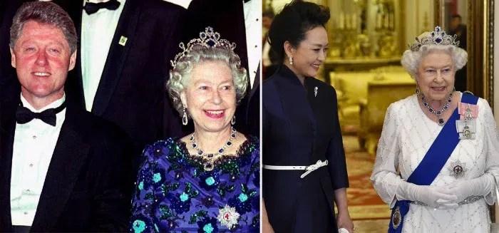 Queen Elizabeth wearing the sapphire tiara