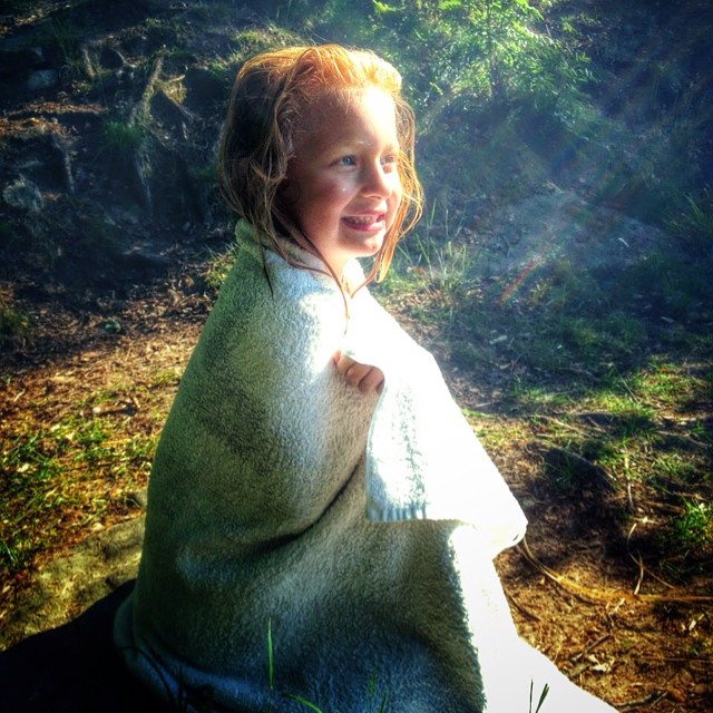 My lovely daughter after a cold bath in the lake. #ns #adesworld