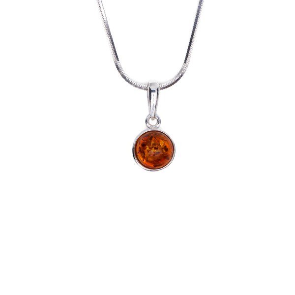 Silver necklace with cognac Baltic amber