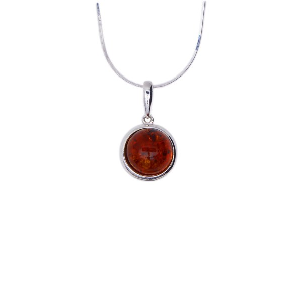 Round silver necklace with cognac Baltic amber