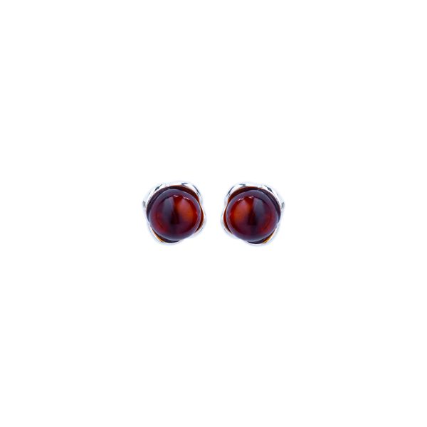 Silver stud earrings with cognac Baltic amber 1
