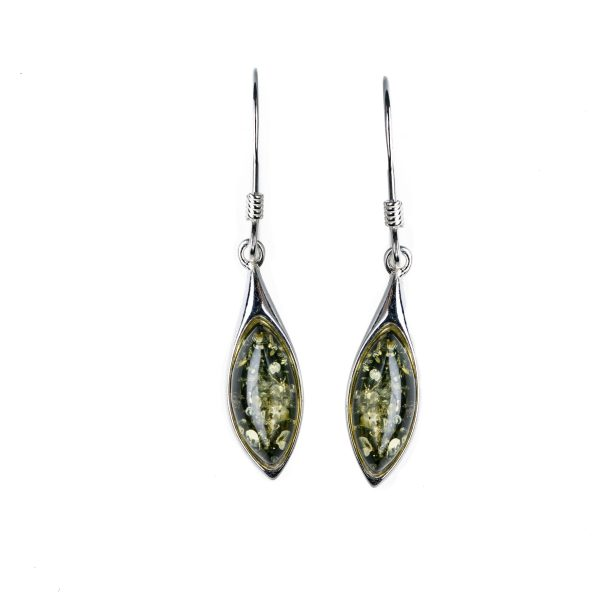 Silver earrings with green baltic amber