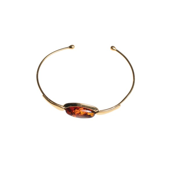 Cuff bracelet with cognac genuine amber