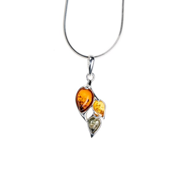 Silver necklace with mixed baltic amber