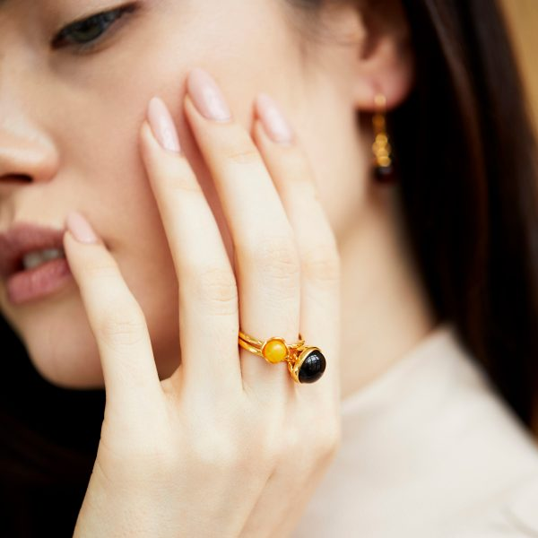 Gold plated cherry amber ring