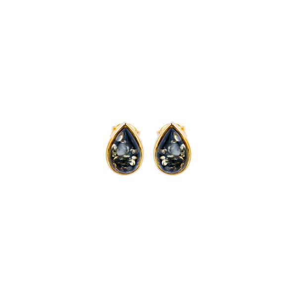 Gold-plated stud earrings with green Baltic amber