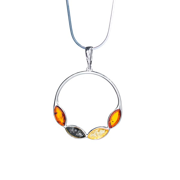 Silver necklace with multi-coloured amber