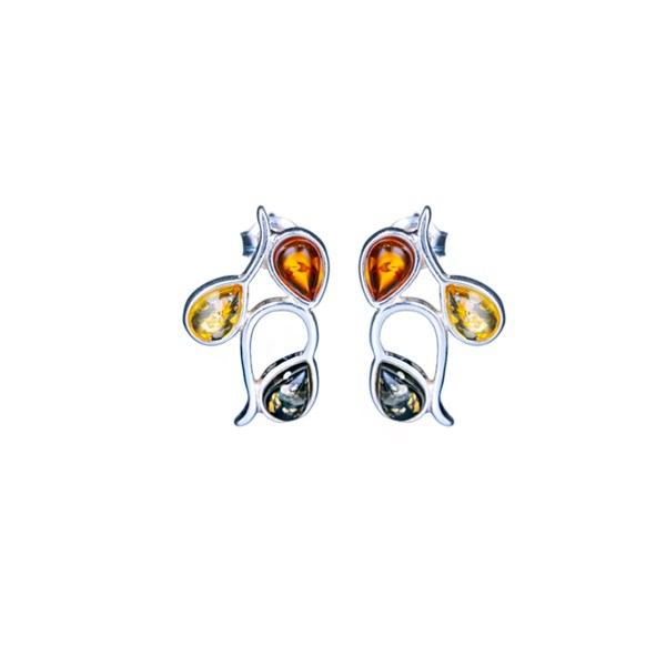 Silver earrings with mixed Baltic amber