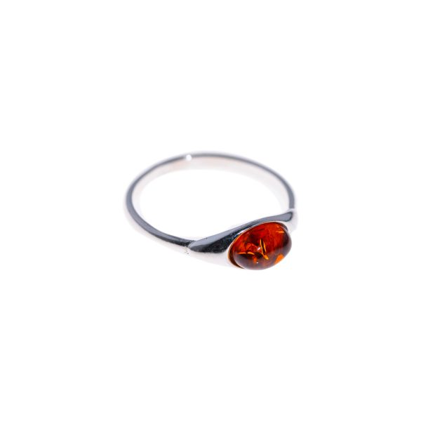 Silver ring with genuine cognac amber